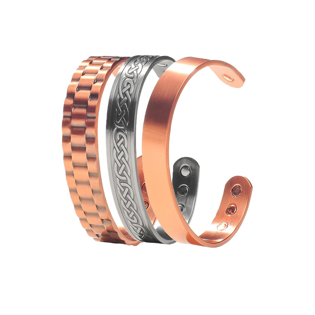 3 Pack Copper Magnetic Therapy Bracelet Set Featuring Men's Watch Cuff Bracelet, Celtic Pewter Bracelet, and Golf Bracelet