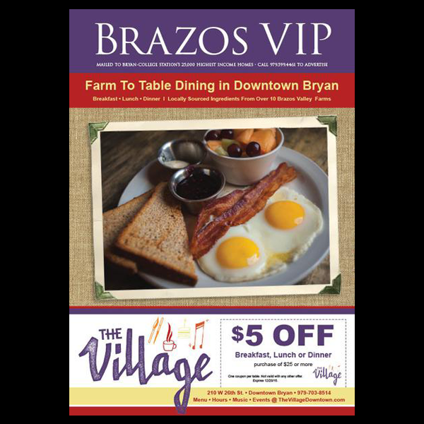 Full Page Ad in Brazos VIP Coupon Magazine