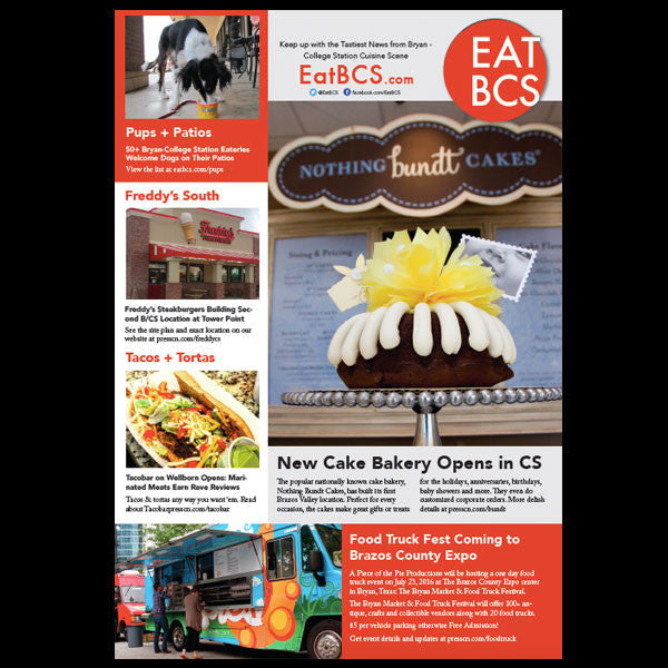 Half Page Ad in Eat BCS Magazine