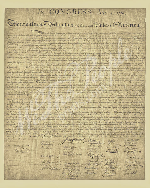 "Declaration of Independence - full size 24"" x 36"""