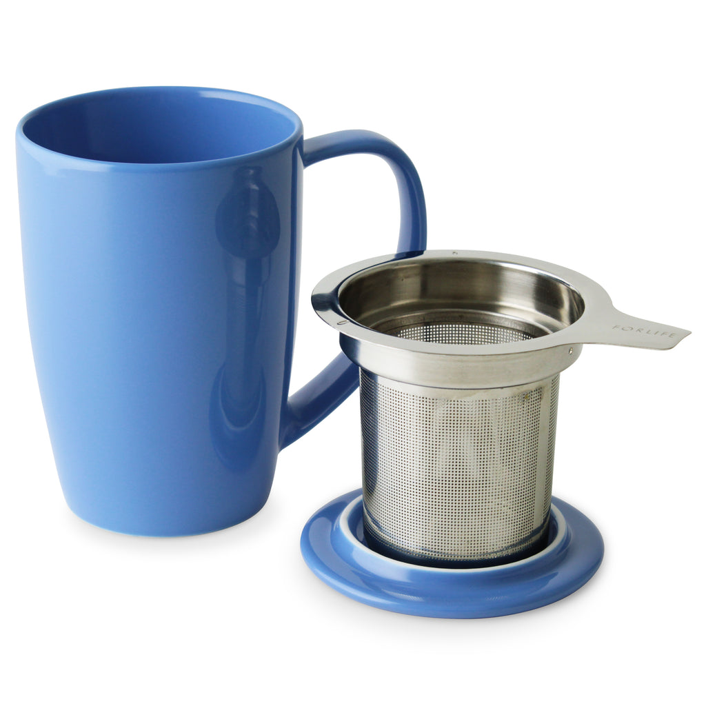 Curve Tall Tea Mug with Infuser & Lid (various colors) - Indigo Tea Co.