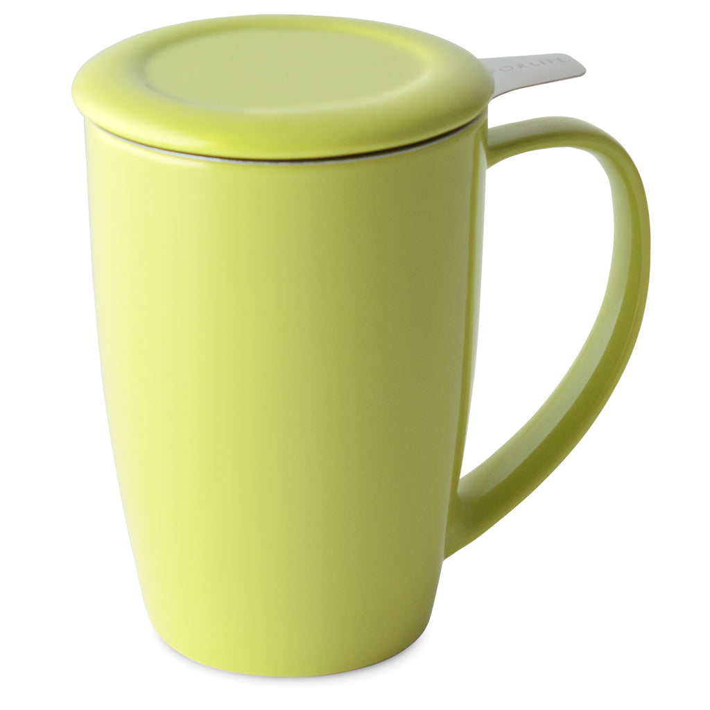 Curve Tall Tea Mug with Infuser & Lid (various colors)