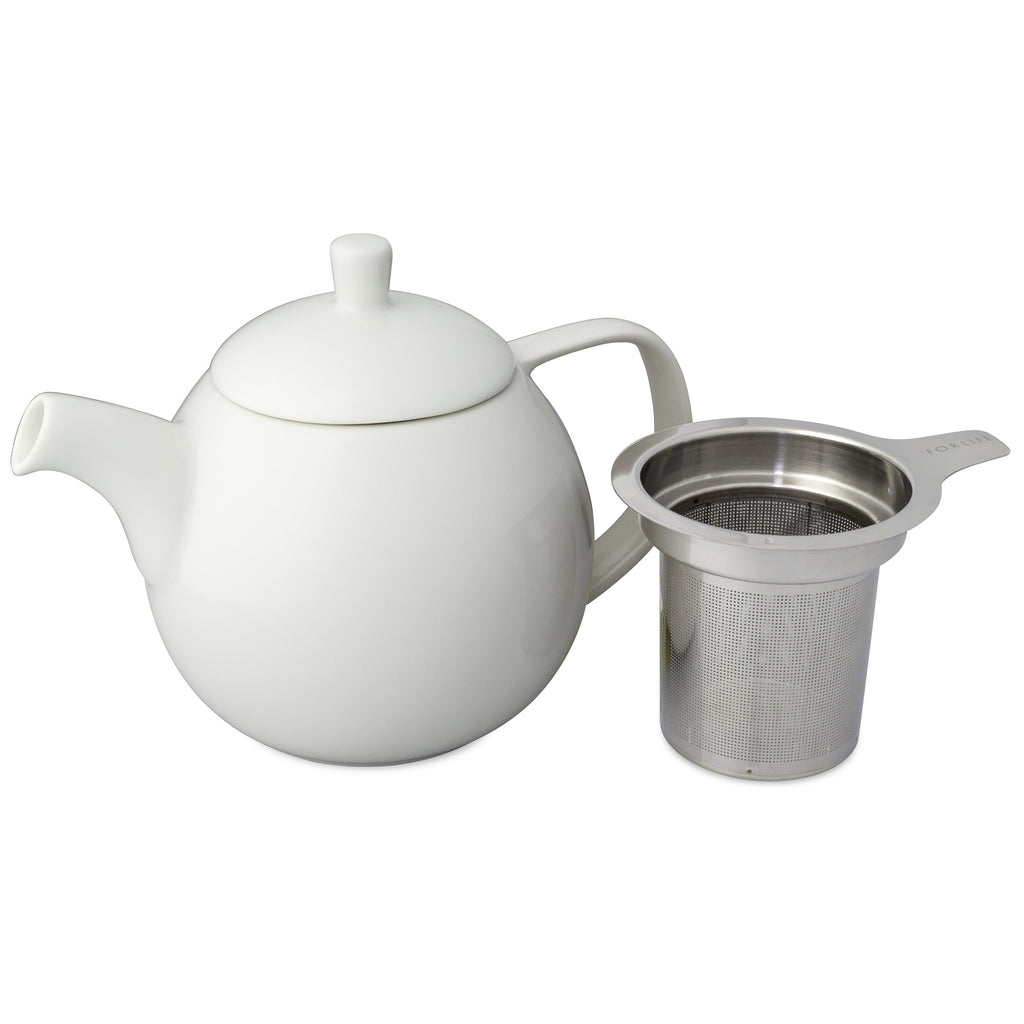 Curve Teapot-White - Indigo Tea Co.