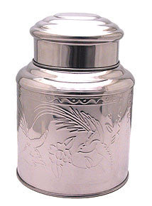 Chinese Tea Canister, Stainless Steel, double lid