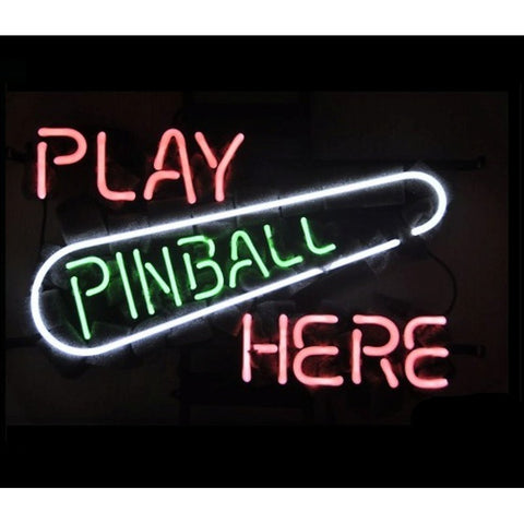 Play Pinball Here Neon Home Bar Sign Neon Sign - The Beer Lodge