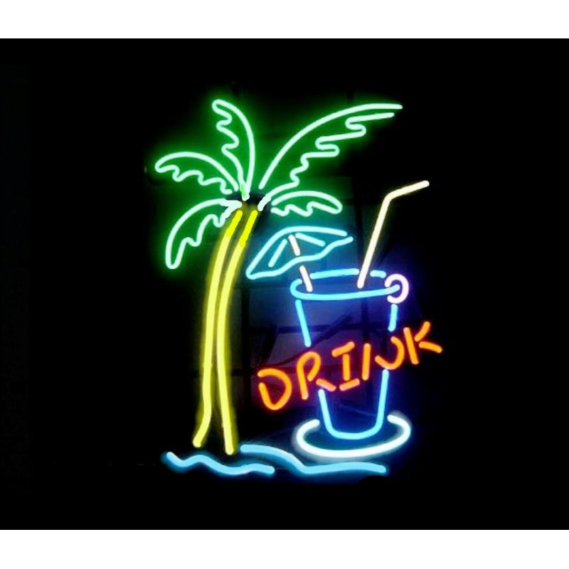 Drink w/Palm Neon Home Bar Sign Neon Sign - The Beer Lodge