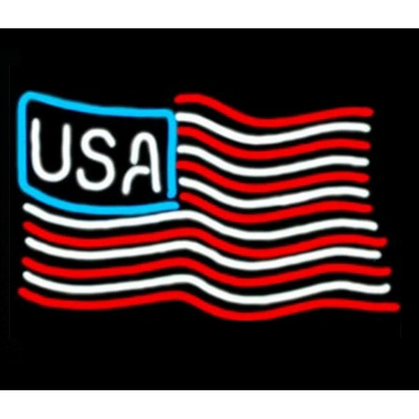 United States of America Flag Neon Home Bar Sign Neon Sign - The Beer Lodge