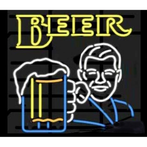 Man Holding Beer Glass Neon Home Bar Sign Neon Sign - The Beer Lodge