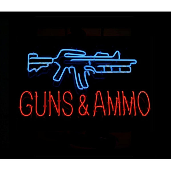 Guns & Ammo Neon Home Bar Sign Neon Sign - The Beer Lodge