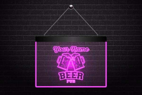 Personalized Beer Pub Sign Mugs Neon Light Sign (Two Sizes) - The Beer Life