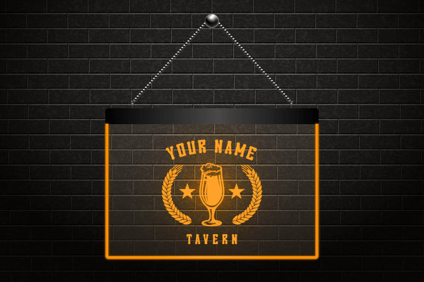 Personalized Tavern Beer Light Sign (Three Sizes) LED Signs - The Beer Lodge