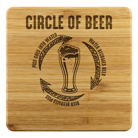 Circle Of Beer Bamboo Wooden Coasters (Set of 4) Coasters - The Beer Lodge