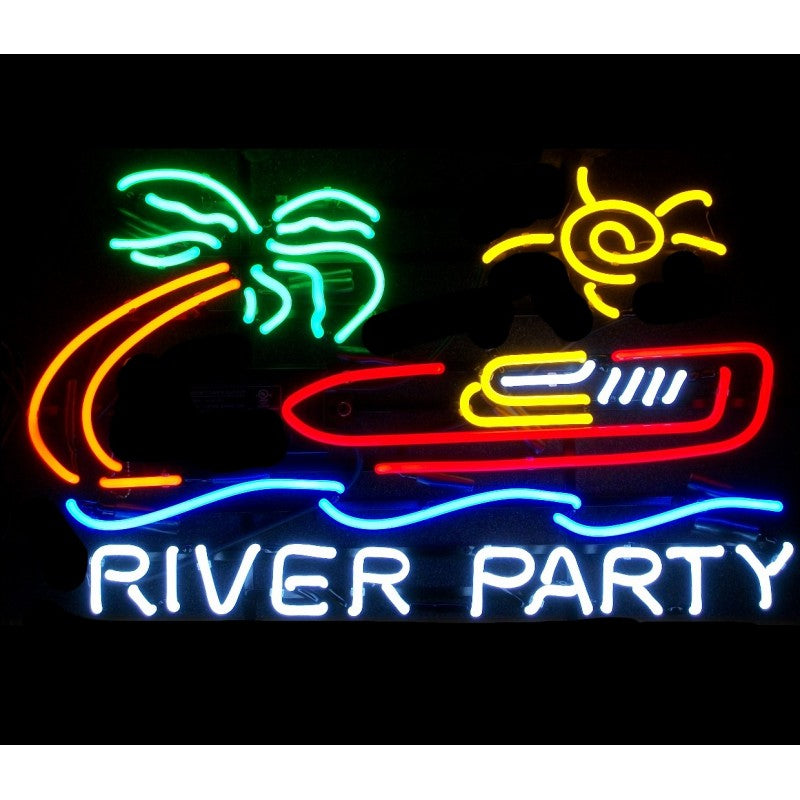River Party Neon Home Bar Sign Neon Sign - The Beer Lodge