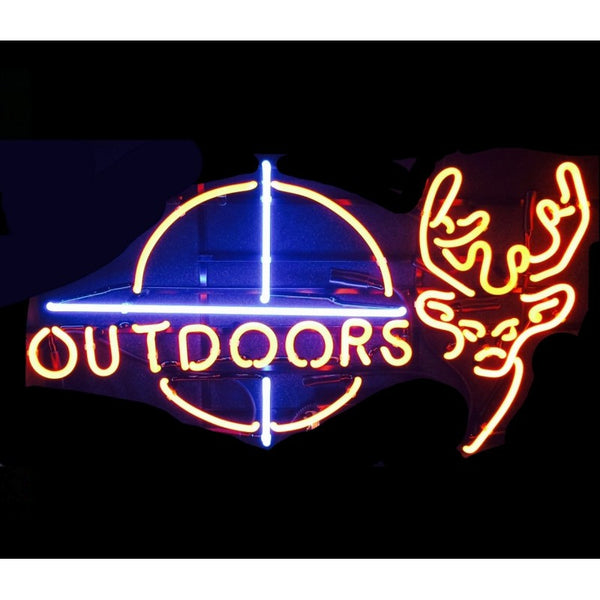Deer Outdoors Neon Home Bar Sign Neon Sign - The Beer Lodge
