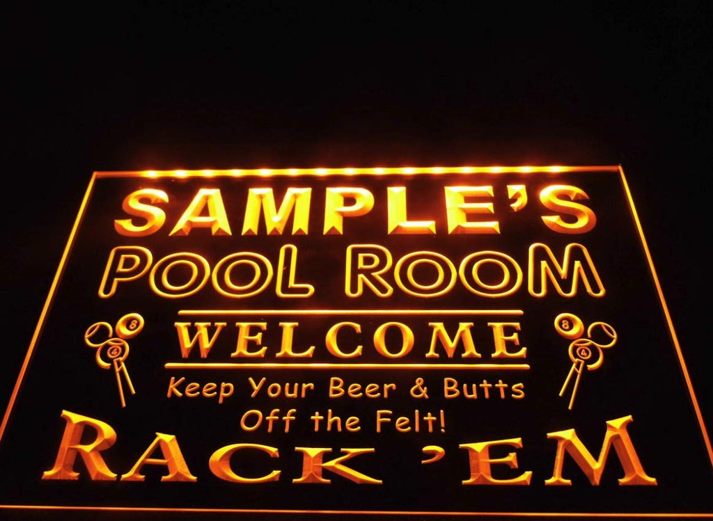 Name Personalized Pool Room Rack 'em Bar Beer Neon Light Sign (Three Sizes) LED Signs - The Beer Lodge