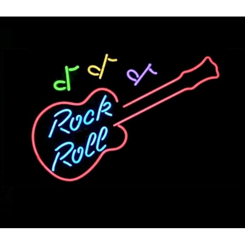 Rock-N-Roll Guitar Neon Home Bar Sign Neon Sign - The Beer Lodge