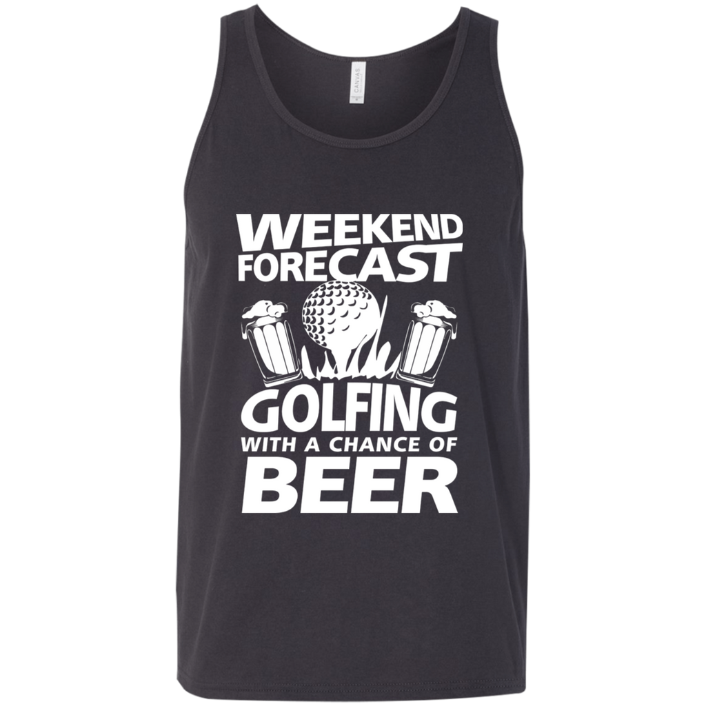 Weekend Forecast Golfing With A Chance Of Beer Tank Top Apparel - The Beer Lodge