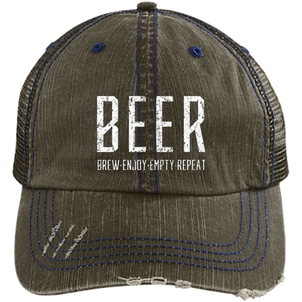 Beer Brew Enjoy Empty Repeat Trucker Cap - The Beer Life