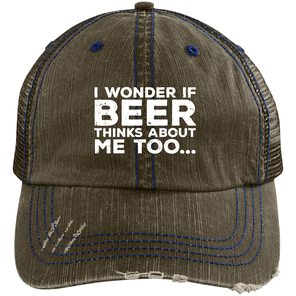 I Wonder If Beer Thinks About Me Too Trucker  Cap Hats - The Beer Lodge