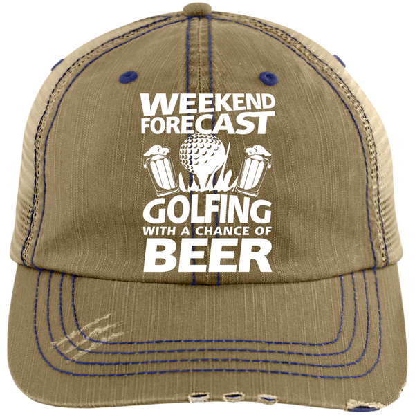Weekend Forecast Golfing With A Chance Of Beer Trucker Cap Hats - The Beer Lodge
