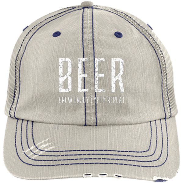 Beer Brew Enjoy Empty Repeat Trucker Cap Hats - The Beer Lodge