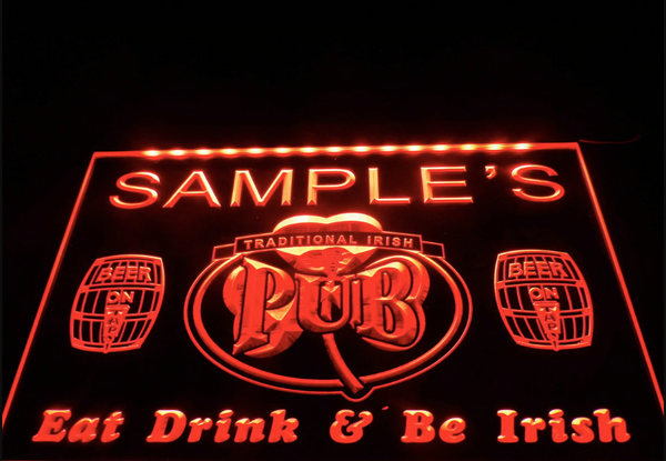 Personalized Custom Irish Pub Shamrock Bar Beer Neon Sign (Three Sizes) Beer Signs - The Beer Lodge