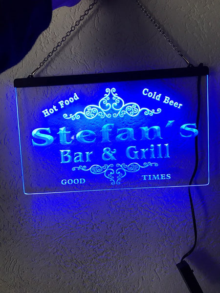 Personalized Name Bar & Grill Cold Beer LED Sign (Three Sizes) Beer Signs - The Beer Lodge