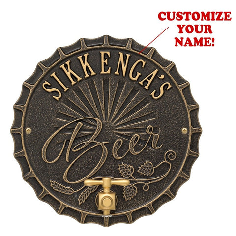 Personalized Cast Aluminum Plaque (and Bottle Opener) - Bottle Cap Brew Design (Five Colors) LED Signs - The Beer Lodge