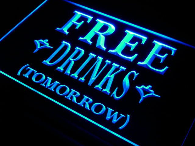 Beer Signs - FREE DRINKS TOMORROW Beer Bar LED Neon Light Sign On/Off Switch 7 Colors