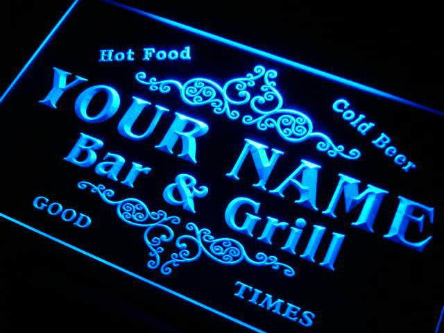 Personalized Name Bar & Grill Cold Beer LED Sign (Two Sizes) Beer Signs - The Beer Lodge