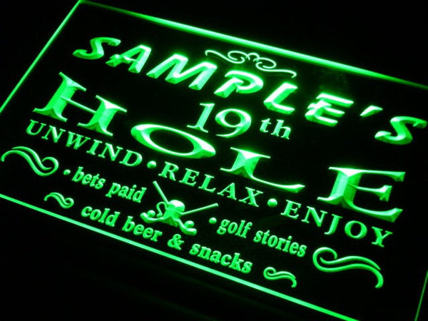 Name Personalized Golf 19th Hole Bar Beer Neon Sign (Two Sizes) Beer Signs - The Beer Lodge