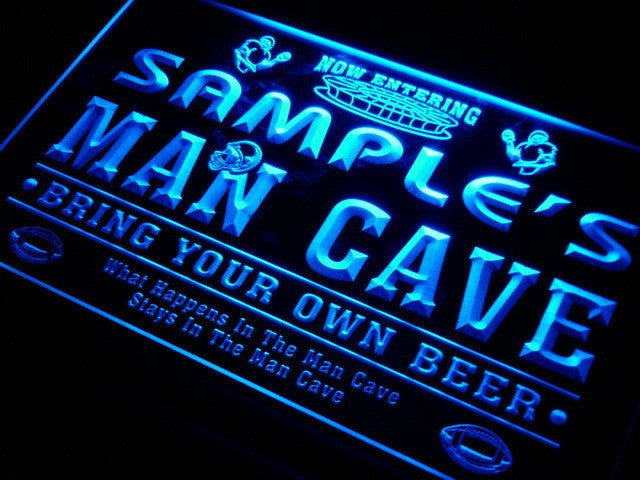 Name Personalized Man Cave Football Bar Beer Neon Sign (Two Sizes) - The Beer Life