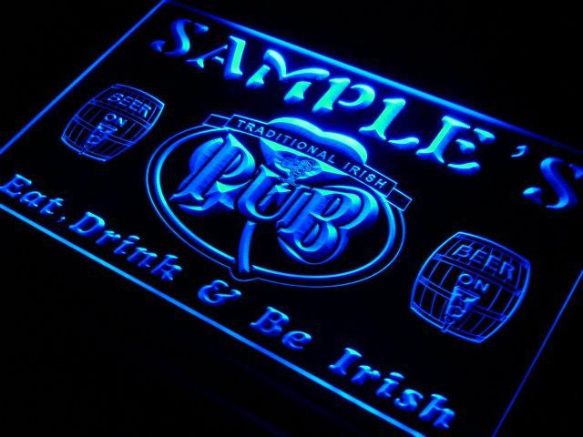 Beer Signs - Personalized Custom Irish Pub Shamrock Bar Beer Neon Sign With On/Off Switch 7 Colors