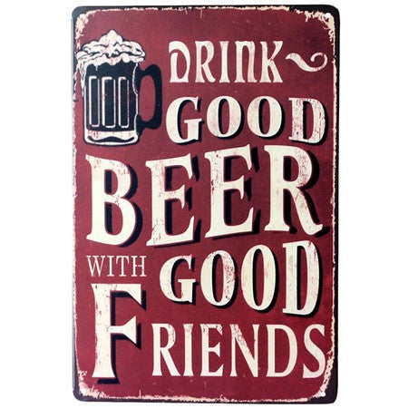 Vintage Beer Metal Tin Wall Signs 20x30 cm