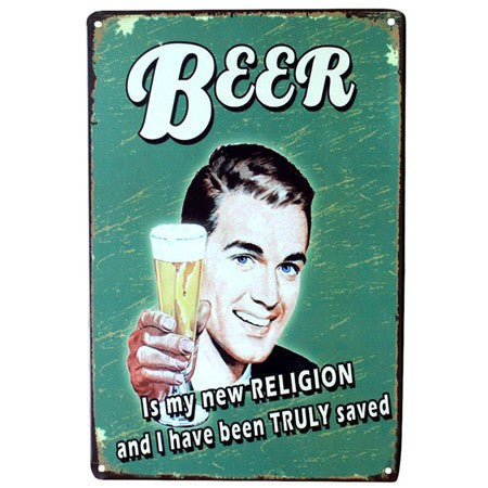 Vintage Beer Metal Tin Wall Signs 20x30 cm - The Beer Life
