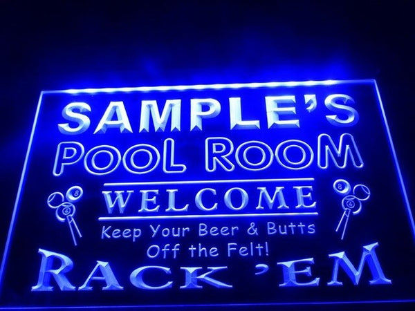 Name Personalized Pool Room Rack 'em Bar Beer Neon Light Sign (Three Sizes) Beer Signs - The Beer Lodge