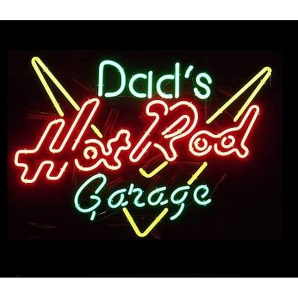 Dads Hot Rod Garage Neon Home Bar Sign Neon Sign - The Beer Lodge
