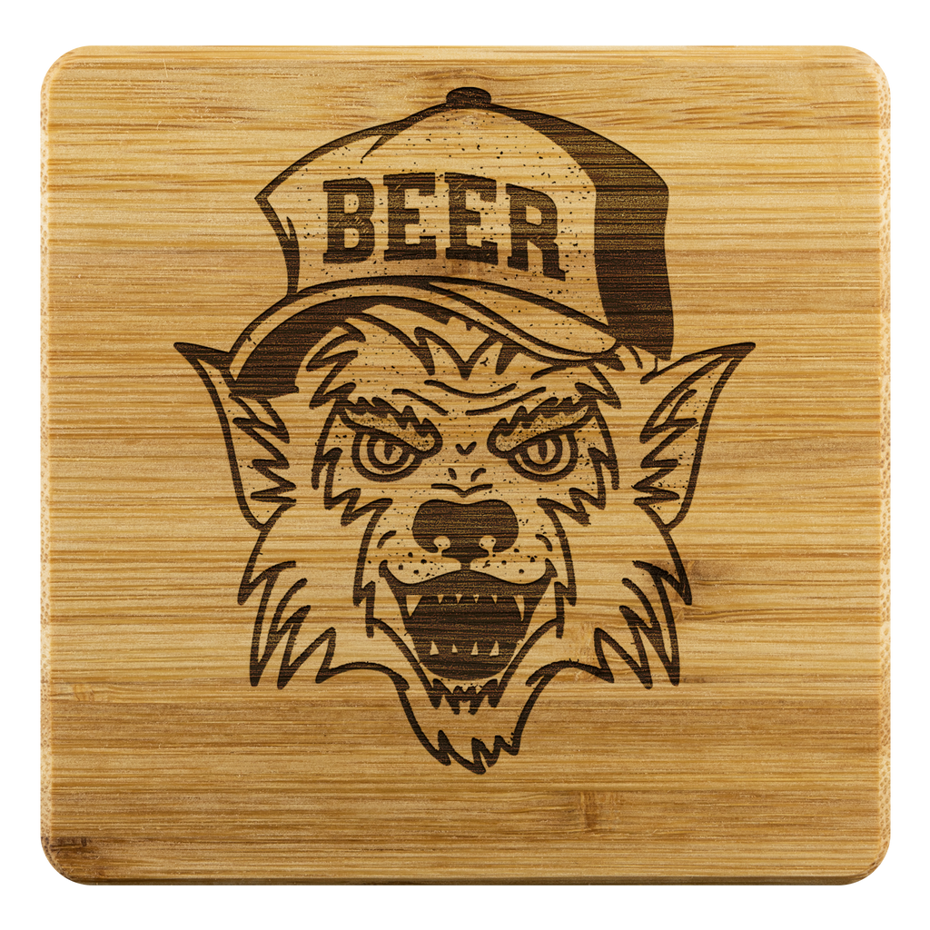 Werewolf Beer Hat Bamboo Wooden Coasters (Set of 4) Coasters - The Beer Lodge