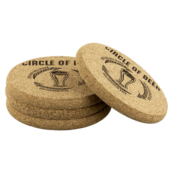 Circle Of Beer Round Cork Coasters (Set of 4) Coasters - The Beer Lodge