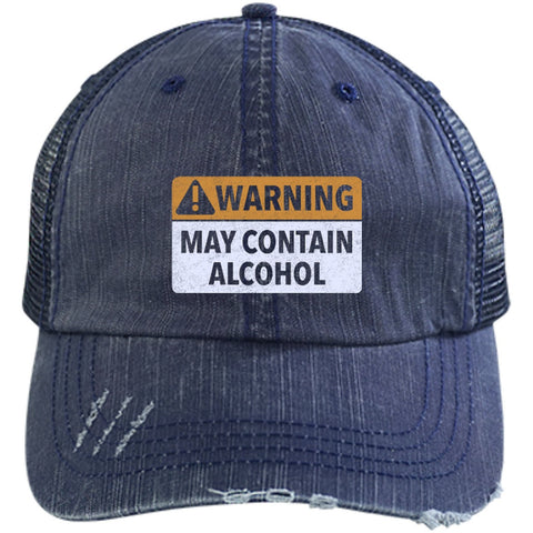 Hats - May Contain Alcohol Distressed Unstructured Trucker Cap