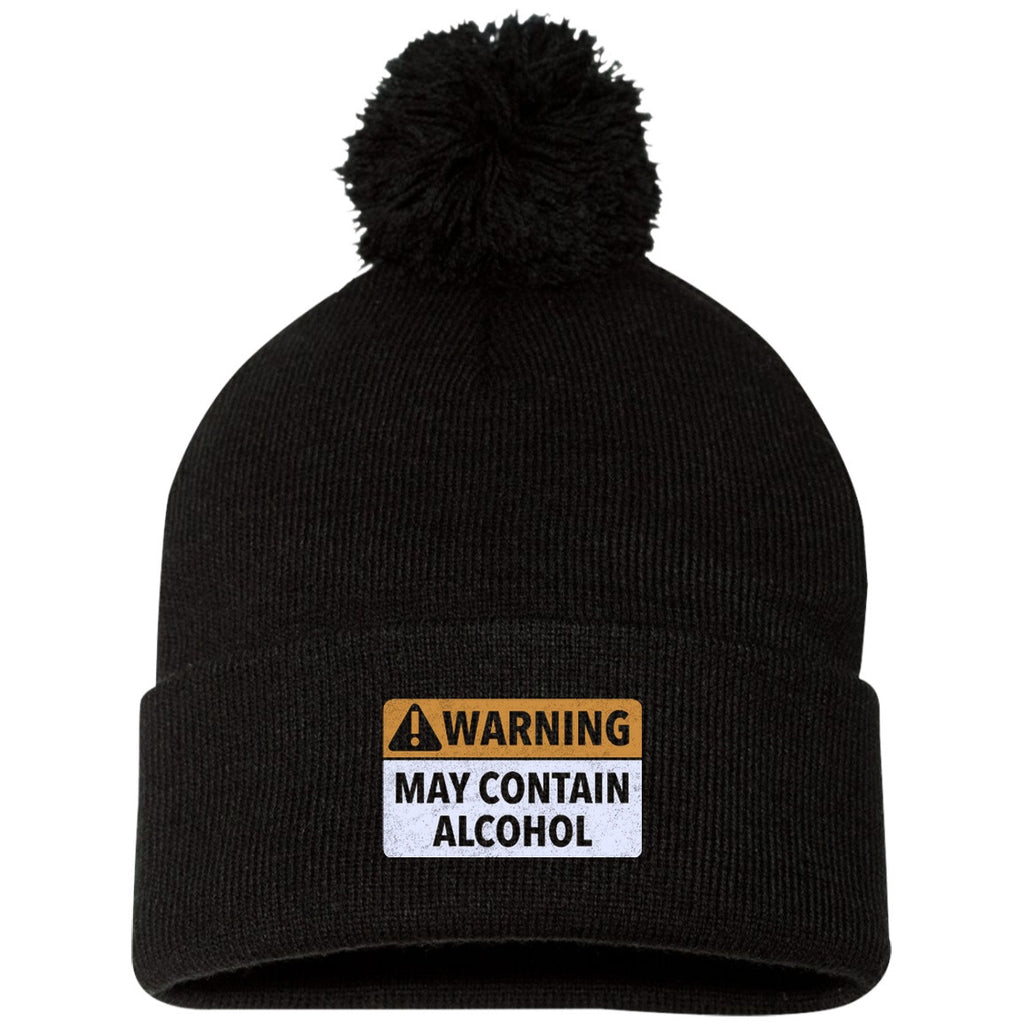 May Contain Alcohol Pom Pom Knit Cap Hats - The Beer Lodge