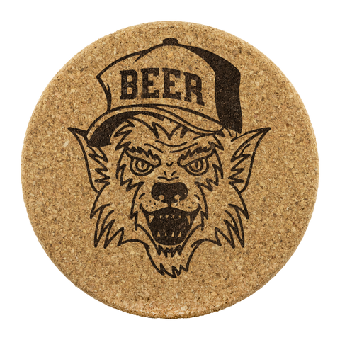 Werewolf Beer Hat Round Cork Coasters (Set of 4) Coasters - The Beer Lodge