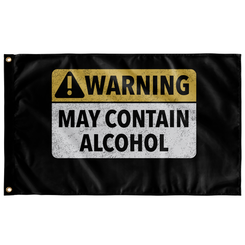 Warning May Contain Alchol Flag Wall Flags - The Beer Lodge