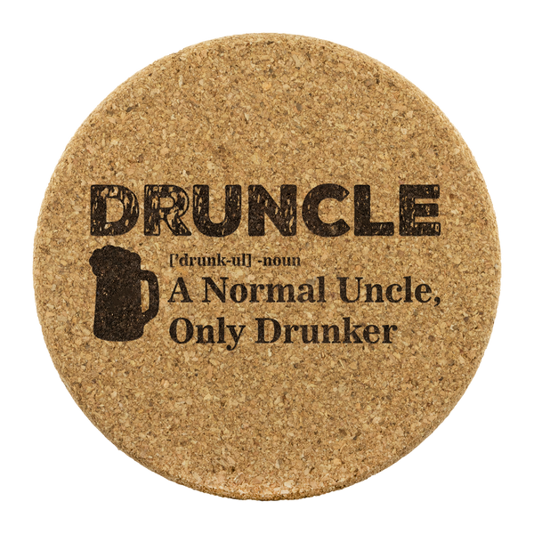 Druncle Round Cork Coasters (Set of 4) Coasters - The Beer Lodge