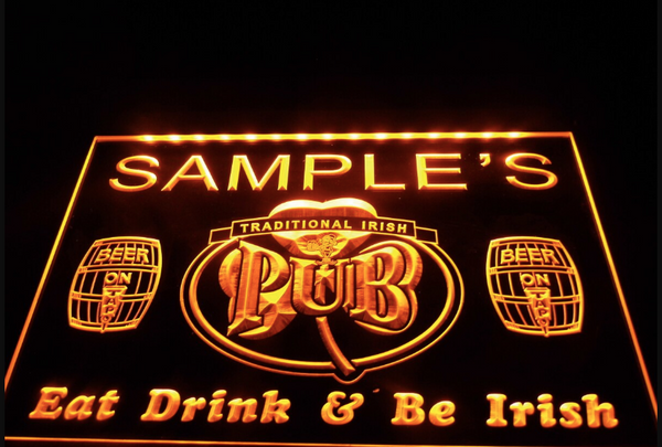 Personalized Custom Irish Pub Shamrock Bar Beer Neon Sign (Three Sizes) LED Signs - The Beer Lodge