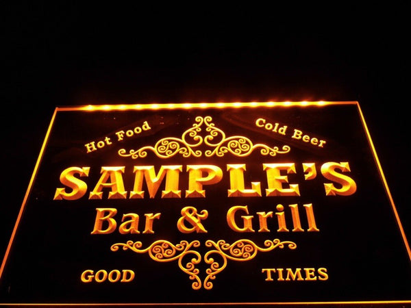 Personalized Name Bar & Grill Cold Beer LED Sign (Three Sizes) LED Signs - The Beer Lodge