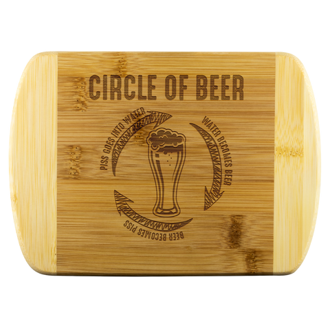Circle Of Beer Round Edge Wooden Cutting Board