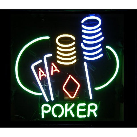 Poker Neon Home Bar Sign Neon Sign - The Beer Lodge