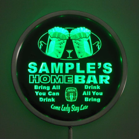 "Color Changing Personalized Round LED Home Bar Sign - 10"" Diameter - Remote Control"