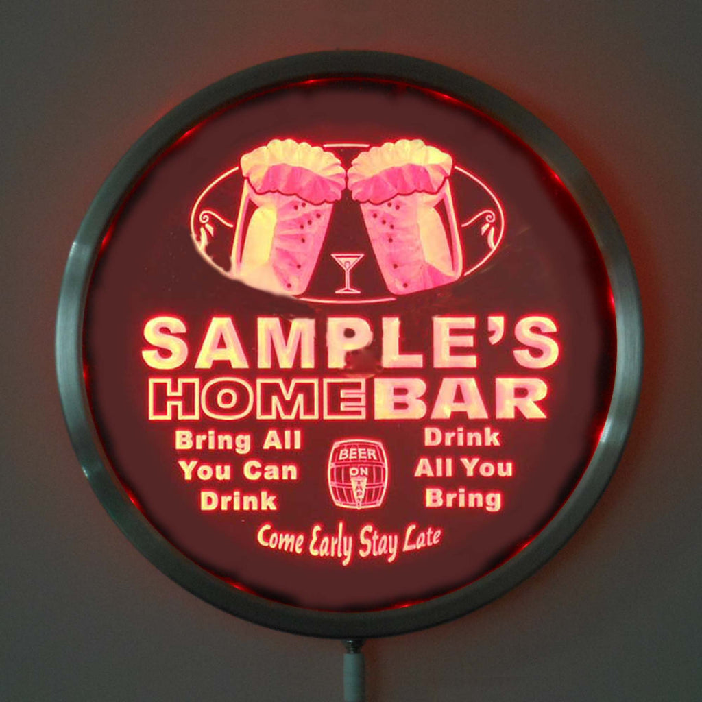 "Color Changing Personalized Round LED Home Bar Sign - 10"" Diameter - Remote Control LED Signs - The Beer Lodge"